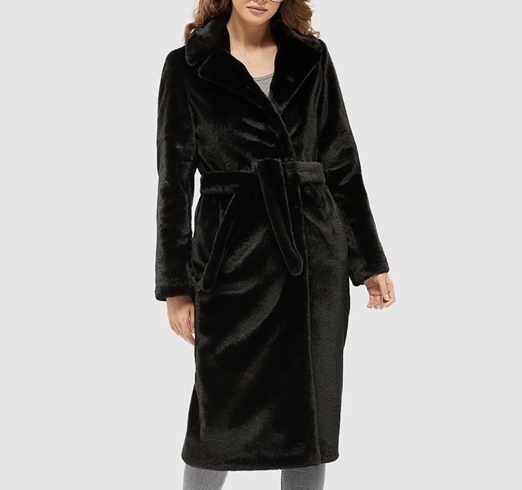 Черная шуба пальто из экомеха