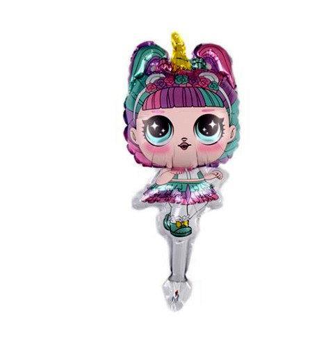 Фольгированный шар Куклы Лол  ЕДИНОРОГ   ( мини) , 24х44 см ,