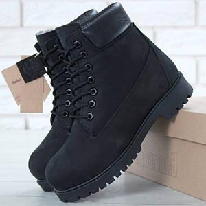 Женские (мужские) зимние ботинки Timberland 6 inch Utility Black с натуральным мехом