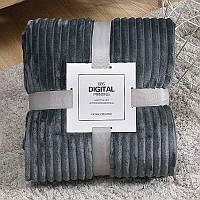 Плед теплый, плюшевый мягкий в полоску материал велсофт Original blanket евро 200*230см Темно Серый, фото 1