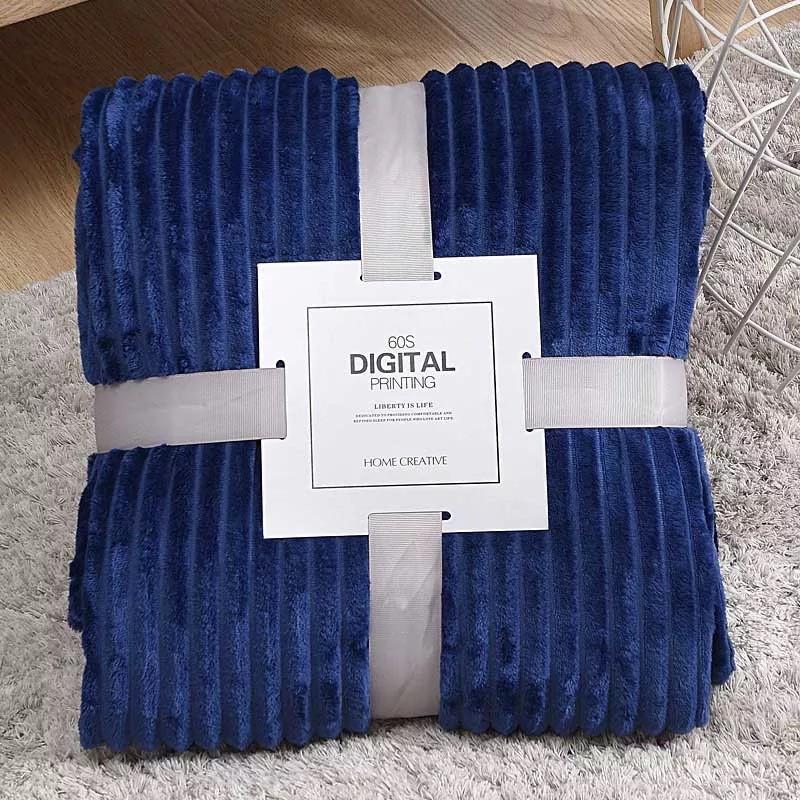 Плед теплый плюшевый мягки в полоску материал велсофт Original blanket евро 200*230см Темно-синий
