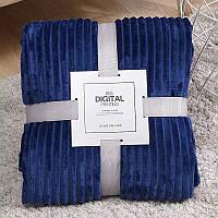 Плед теплый плюшевый мягки в полоску материал велсофт Original blanket евро 200*230см Темно-синий, фото 1