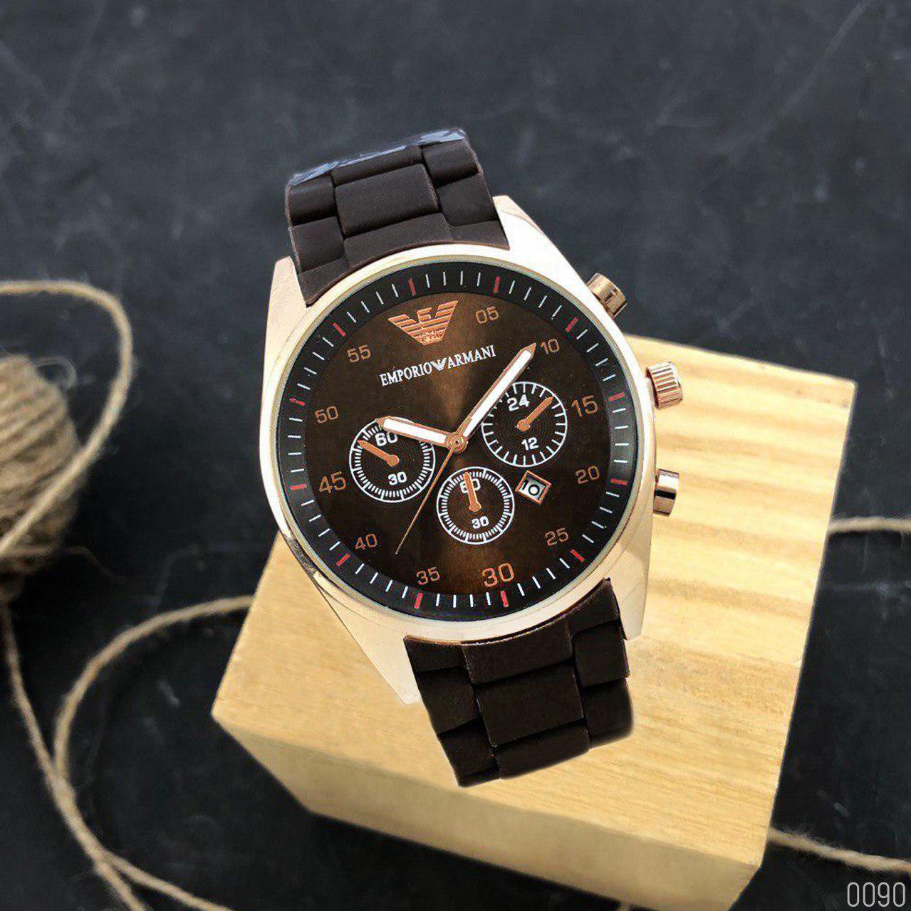 Мужские часы ARMANI Gold-Brown (эмпорио армани браслет золото- коричневые)  Чоловічий годинник