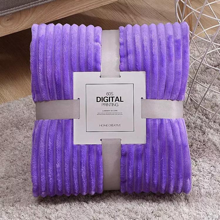 Плед теплый, плюшевый, мягкий в полоску материал велсофт Original blanket евро 200*230см Фиолетовый
