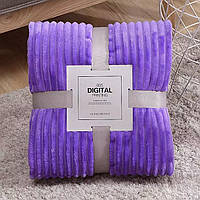 Плед теплый, плюшевый, мягкий в полоску материал велсофт Original blanket евро 200*230см Фиолетовый, фото 1