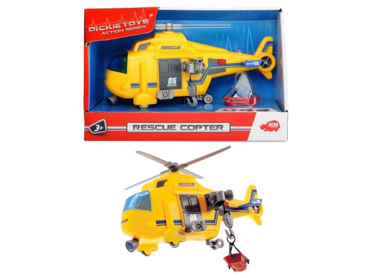 Вертолет Dickie Toys Спасательная служба с лебедкой, свет, звук (3302003)