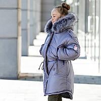 """Зимняя парка-куртка для девочки """"Патрис"""" 128-146 см (серый)"""
