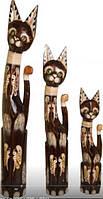 Статуэтка деревянная Семья котов 60см.80см.100см (К-929) Индонезия