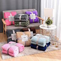 Плед теплый, плюшевый мягкий в полоску материал велсофт Original blanket евро 200*230см разные цвета, фото 1