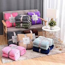 Плед теплий, м'який плюшевий матеріал у смужку велсофт Original blanket євро 200*230см різні кольори