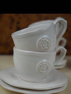 Чашка з блюдцем комплект 6 штук керамічний білий