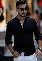 80-61-450 Черная облегающая рубашка и приятной люксовой ткани