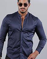 35-61-416 Темно-синяя эластичная рубашка с оригинальным воротом стойкой