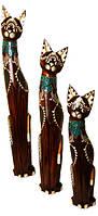 Кот коричневый с желтыми полосками на теле на шее галстук из стекла( к-899,к-900, к-901)