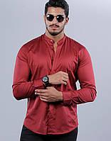 60-61-411 Бордовая рубашка скинни с кнопкой на вороте