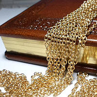 Цепочка бижутерийная, звено 4 х 3 мм, цвет- желтое золото, 50 см