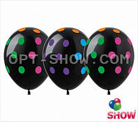 """Латексные шары 12"""" (30 см)Горох цветной на черном, 10 шт"""