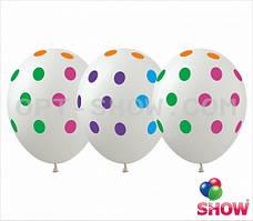 """Латексные шары 12"""" (30 см) Горох цветной на белом, 10 шт"""