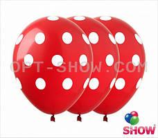 """Латексные шары 12"""" (30 см) Горох белый на красном, 10 шт"""