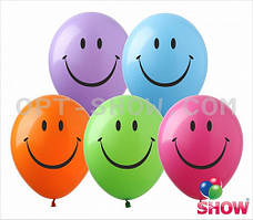 """Латексные шары 12"""" (30 см)с рисунком """"Смайлик (ассорти)"""", 10 шт"""