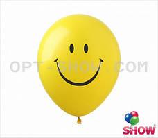 """Латексные шары 12"""" (30 см) с рисунком """"Смайлик"""" желтые, 10 шт"""
