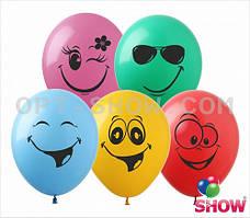 """Латексные шары 12"""" (30 см)с рисунком """"Смайлики"""" ассорти, 10 шт"""