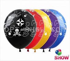 """Латексные шары 12"""" (30 см) с рисунком """"Остров Сокровищ"""", 10 шт"""