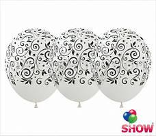 """Латексные шары 12"""" (30 см) с рисунком """"Черные узоры на прозрачном"""", 10 шт"""