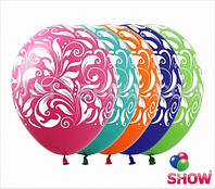 """Латексные шары 12"""" (30 см) с рисунком """"Узоры"""", 10 шт"""