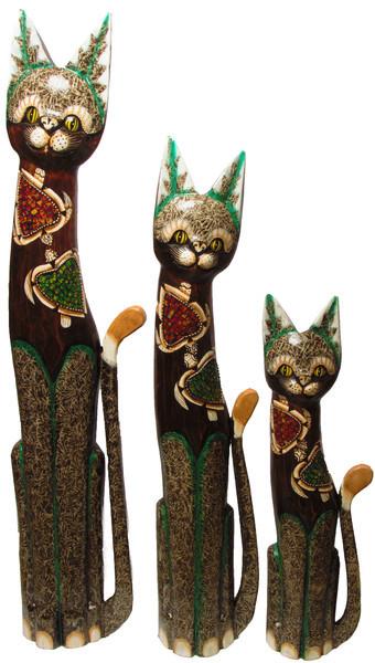 Набор котов: коричневый с двумя черепахами из стекла ( к-944, к-945, к-946)