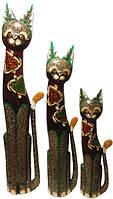 Набор котов: коричневый с двумя черепахами из стекла ( к-944, к-945, к-946), фото 1