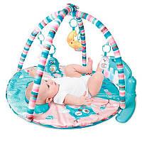Коврик развивающий музыкальный для младенца HX11200-A, игрушки, с музыкой, огнями и подушкой