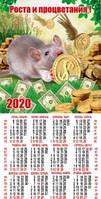 Настенные листовые календари с Крысами 2020 , размер 420*200