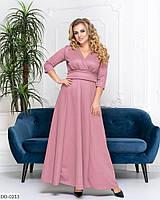 Фрезовое вечернее платье, расклешенное от пояса с рукавом три четверти, размеры 50-52,54-56