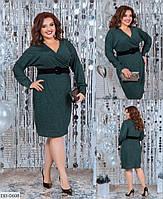 Однотонное полуприталенное платье с завышенной талией, размеры 48-50,52-54,56-58