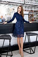 Женское стильное платье с кружевной юбкой и поясом батал