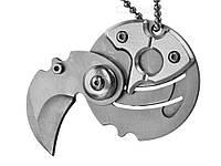 Нож-брелок в виде монеты складной  Серебристый