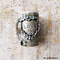 """Керамическая чашка ручной работы """"Love is..."""""""