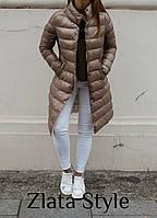 Куртка женская стильная тёплая чёрная, мокко, горчица 42-44,44-46