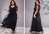 Черное легкое вечернее платье в пол, размеры 50-52, 54-56, 58-60, 62-64