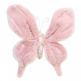 Бабочка Yes! Fun пушистая розовая с декором, 20*20 см