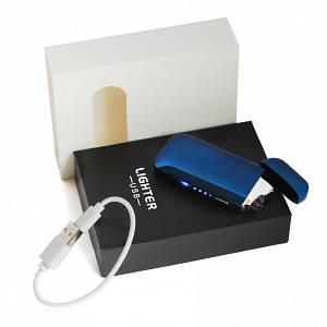 Электроимпульсная USB зажигалка с зеркальным эффектом Синяя