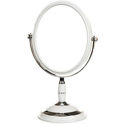 Зеркало косметическое со стразами  двухстороннее с увеличением 15*22*33см (0500-007), фото 2