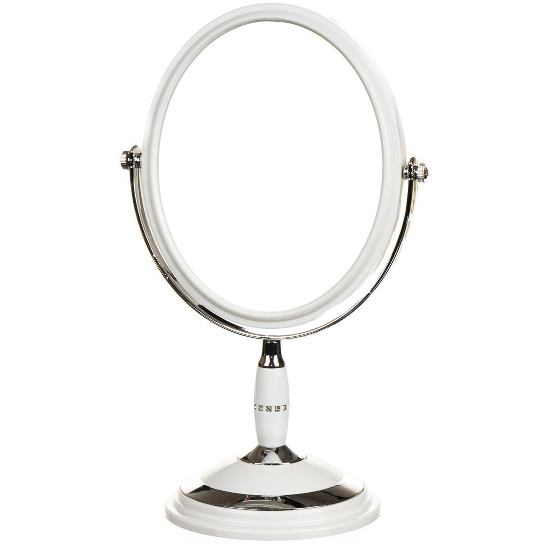 Зеркало косметическое со стразами  двухстороннее с увеличением 15*22*33см (0500-007)