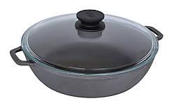 Жаровня чугунная Биол сковорода со стеклянной крышкой  26см 03261с