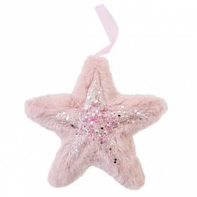 Звезда Yes! Fun пушистая розовая с декором, 16*16 см