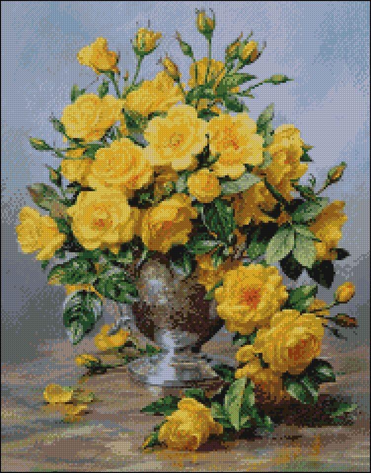 Схема вышивки бисером на габардине Жёлтые розы