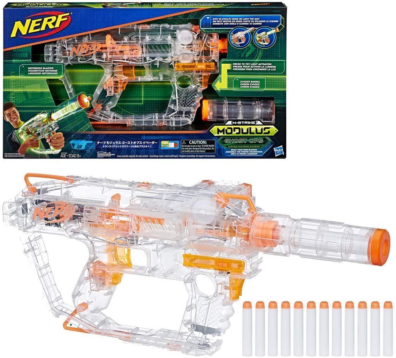 Бластер Nerf Нерф Модулус Прозорий Привид Nerf Modulus Ghost Ops Evader Motorized Light-Up