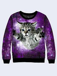 Свитшот женский Кот в космическом пространстве
