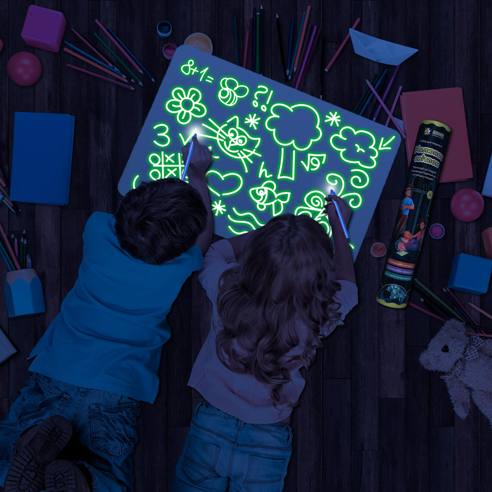 Мягкий коврик в тубусе для рисования в темноте Рисуй светом 56х39см